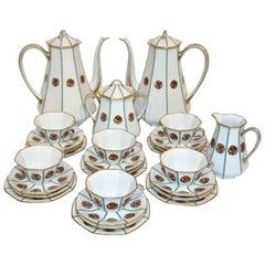 1920s French Art Deco Limoges Porcelain Modern Octagonal Tea / Coffee Set