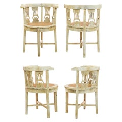 1920s French Art Deco Wooden Captain's Chairs, Set of Four