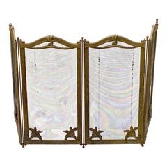 1920s French Art Nouveau 4 Section Steel & Brass Floral Detail Fireplace Screen
