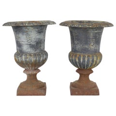 1920s French Bell-Shaped Cast Iron Planters, a Pair