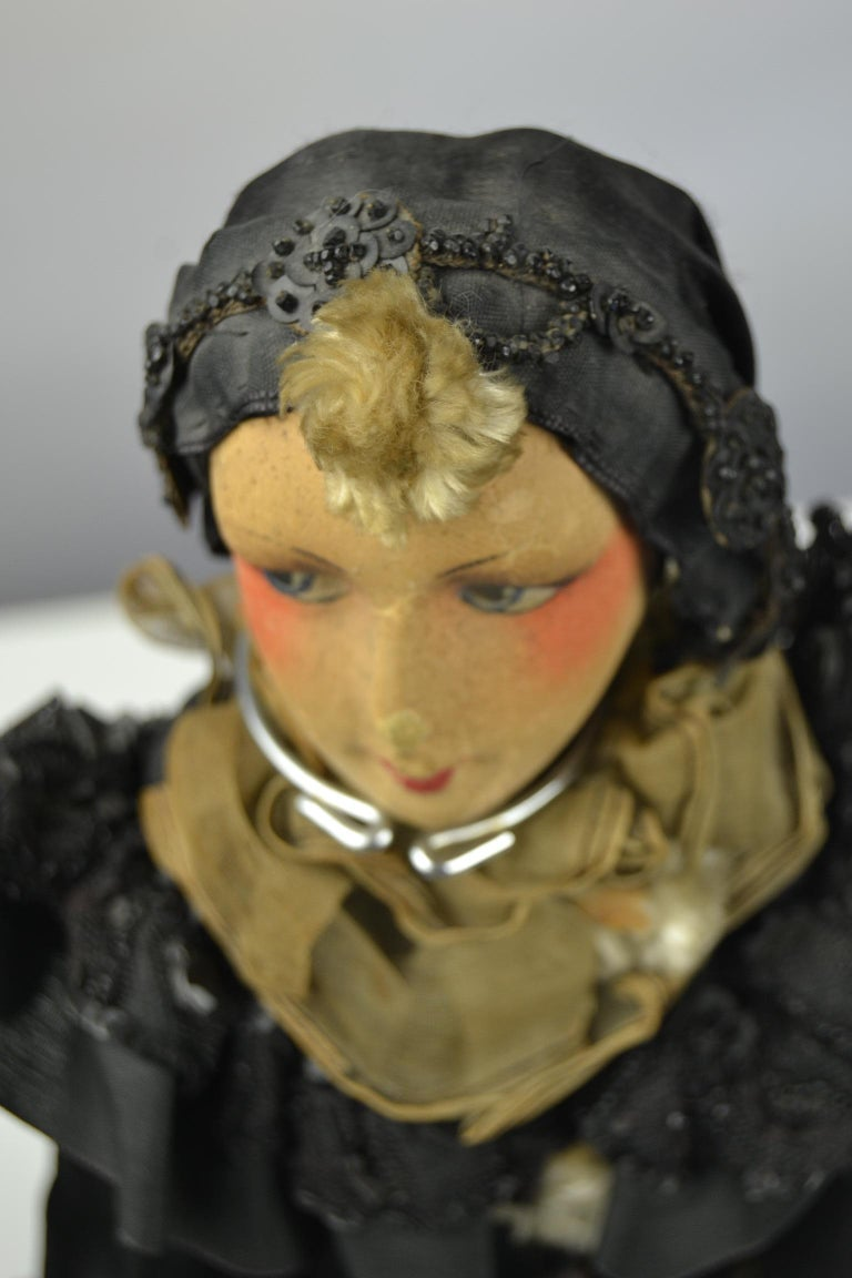 Fabric 1920s French Boudoir Dolls, Salon Dolls, Pierrot and Pierrette For Sale