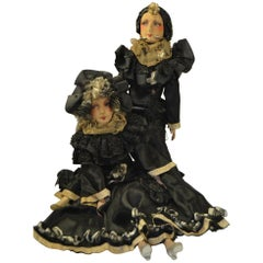 1920s Pair of French Boudoir Dolls, Salon Dolls, Pierrot and Pierrette