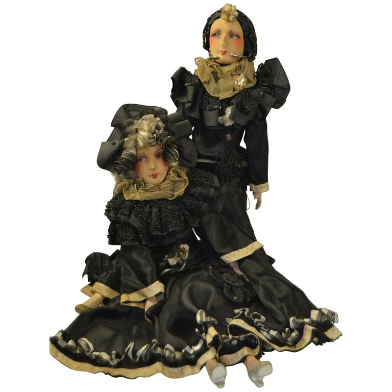 1920s French Boudoir Dolls, Salon Dolls, Pierrot and Pierrette For Sale