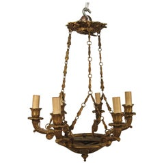 1920s French Bronze Small Classical Chandelier