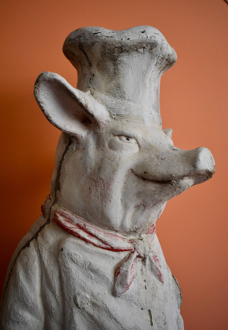 4 Ft. Tall French Butchers Shop Plaster Pig Advertising Restaurant Display 1920s For Sale 9