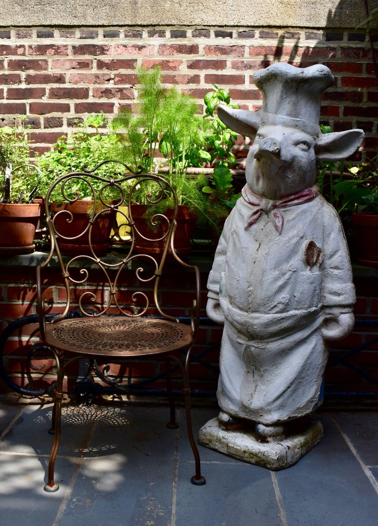 4 Ft. Tall French Butchers Shop Plaster Pig Advertising Restaurant Display 1920s For Sale 10