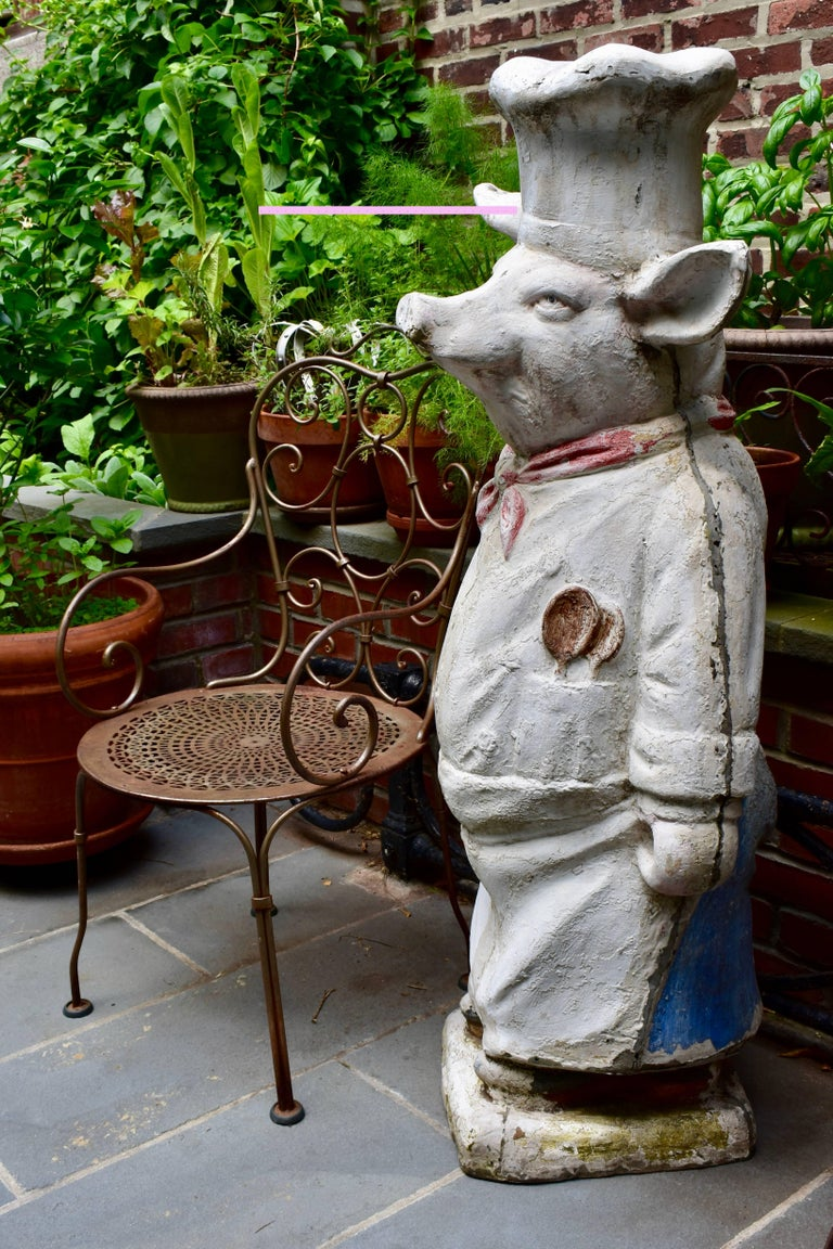 4 Ft. Tall French Butchers Shop Plaster Pig Advertising Restaurant Display 1920s For Sale 11