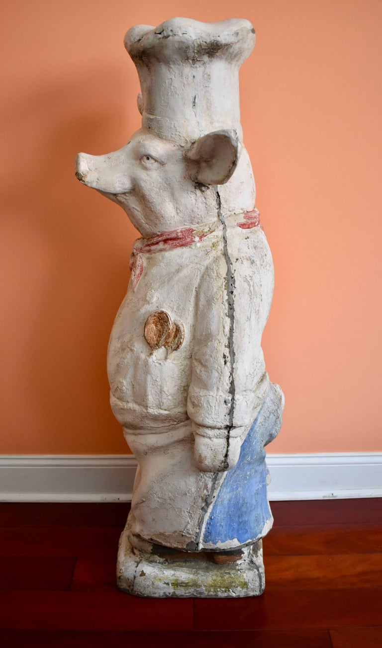 French Provincial 4 Ft. Tall French Butchers Shop Plaster Pig Advertising Restaurant Display 1920s For Sale