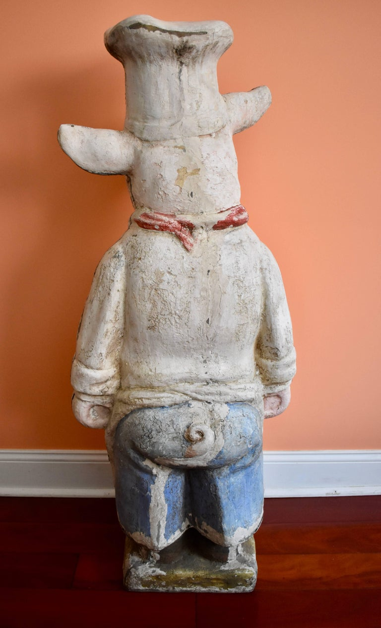 Molded 4 Ft. Tall French Butchers Shop Plaster Pig Advertising Restaurant Display 1920s For Sale