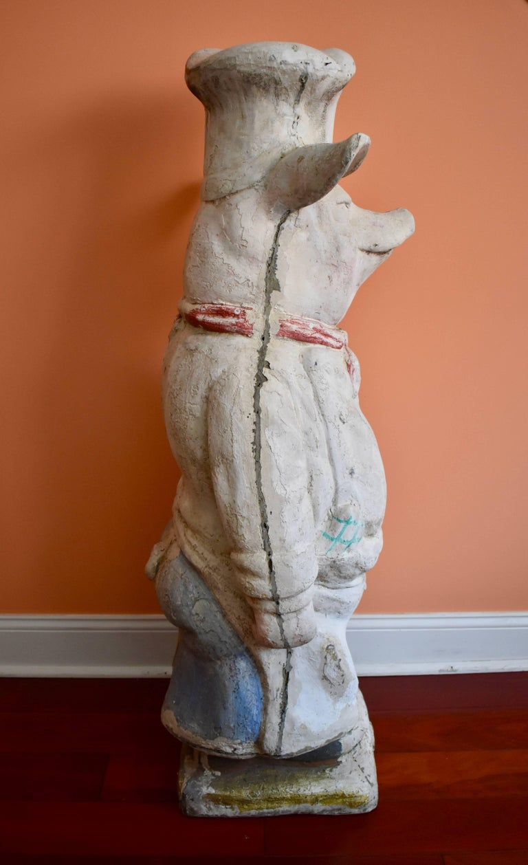 4 Ft. Tall French Butchers Shop Plaster Pig Advertising Restaurant Display 1920s In Good Condition For Sale In Philadelphia, PA