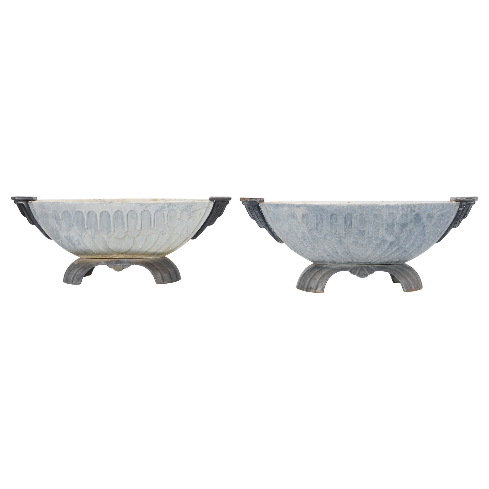 1920s French Cast Iron Planters, a Pair