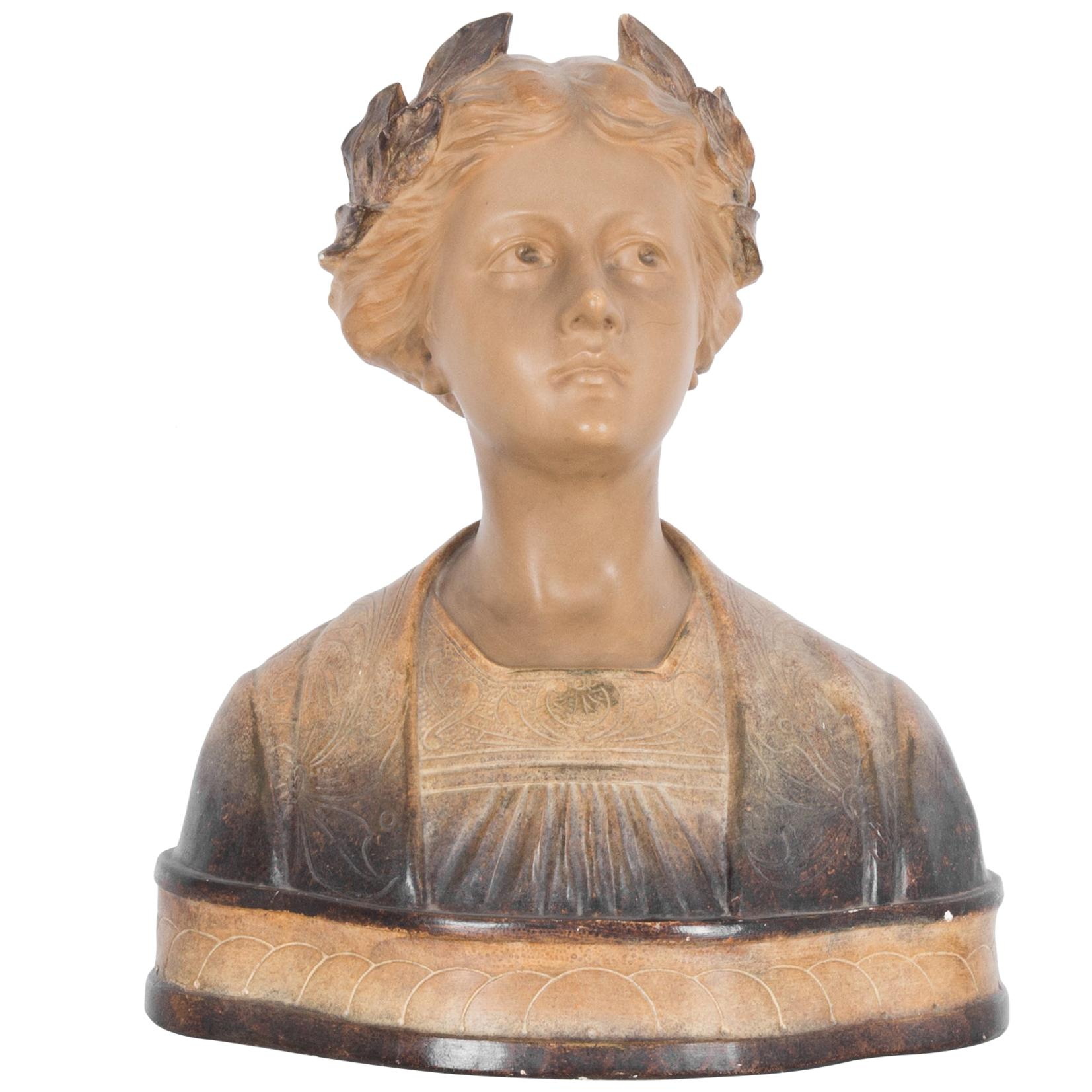 1920s French Ceramic Bust of a Young Woman