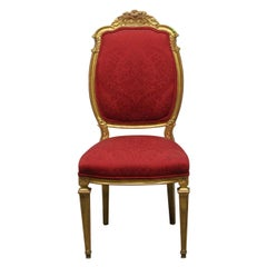 1920s French Chair with Gilded Carved Wood Frame and Red Floral Upholstery