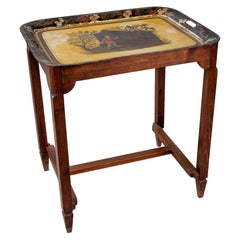 1920s French Chinoiserie Metallic Tray w/ Wooden Stand Table