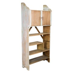 1920s French Country Wooden Shelf with Tambour Doors