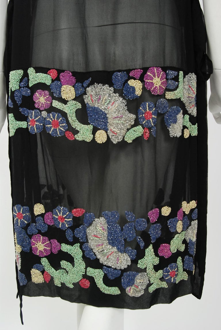 Women's Vintage 1920's French Couture Beaded Deco Floral Silk Drop-Waist Flapper Dress For Sale