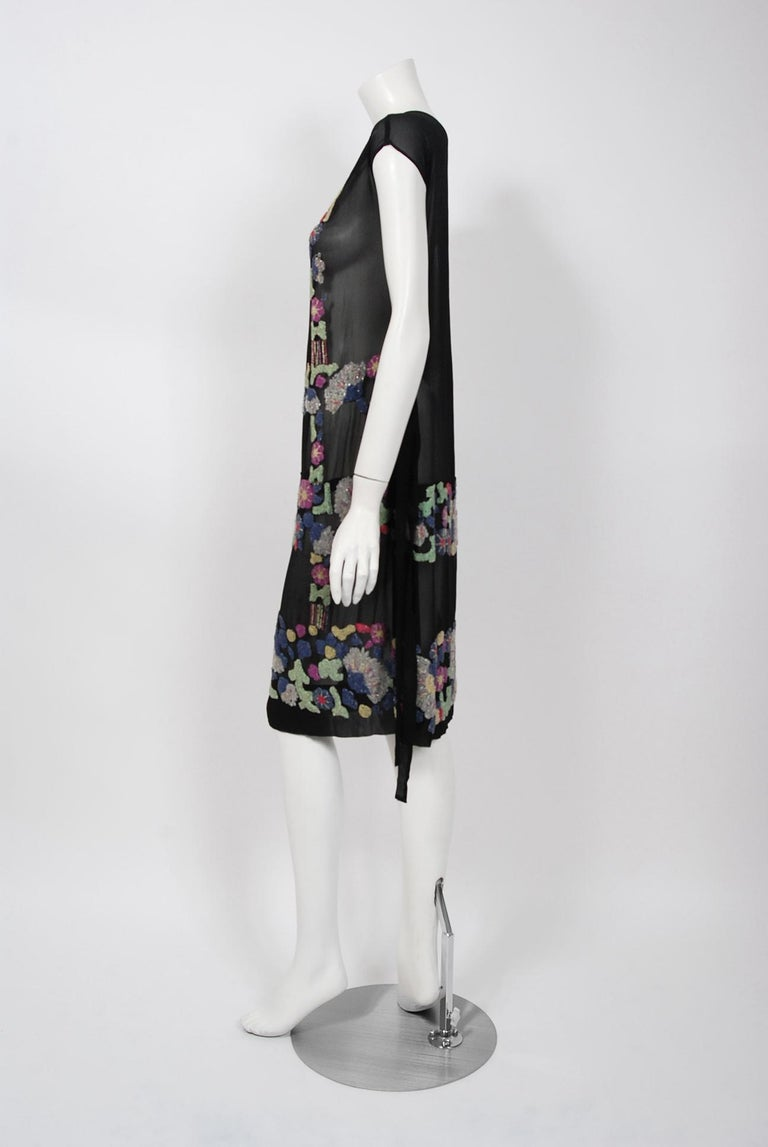 Vintage 1920's French Couture Beaded Deco Floral Silk Drop-Waist Flapper Dress For Sale 2