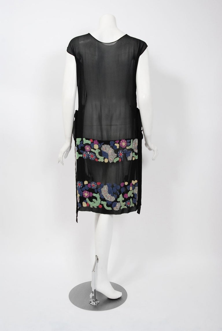 Vintage 1920's French Couture Beaded Deco Floral Silk Drop-Waist Flapper Dress For Sale 3