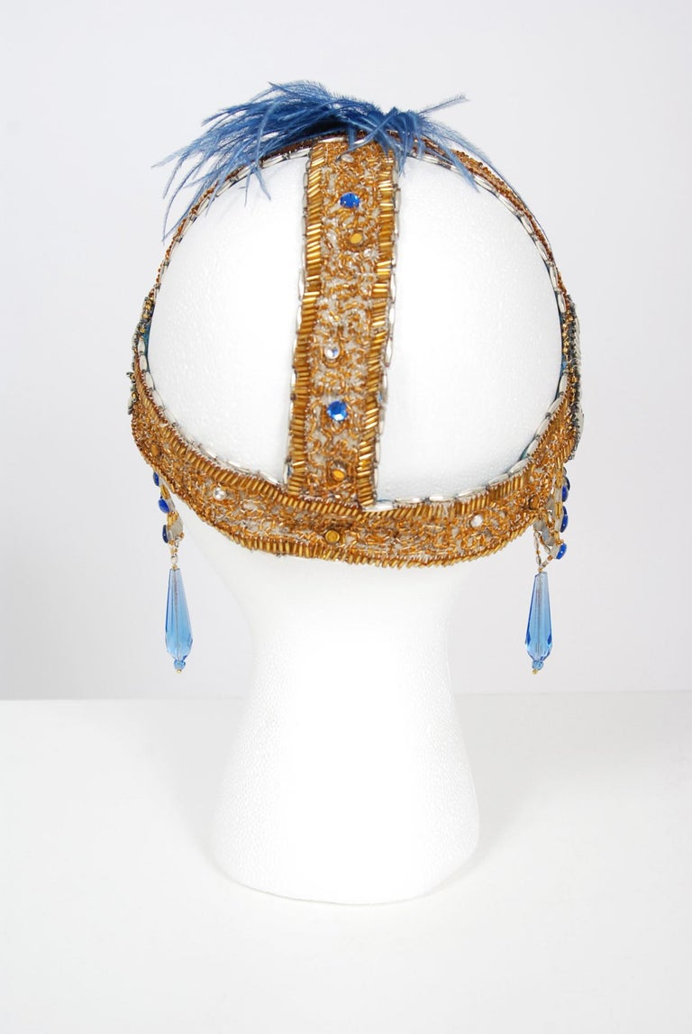 1920's French Couture Gold Beaded Blue Jeweled Deco Flapper Crown Headpiece  For Sale 5