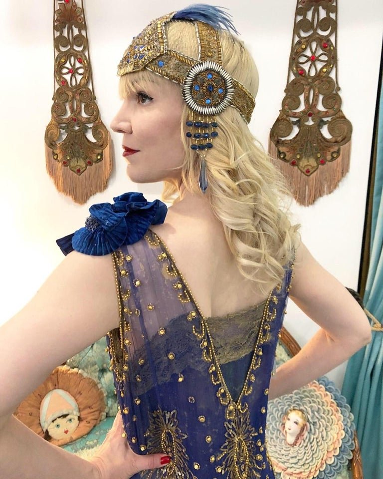 Beige 1920's French Couture Gold Beaded Blue Jeweled Deco Flapper Crown Headpiece  For Sale