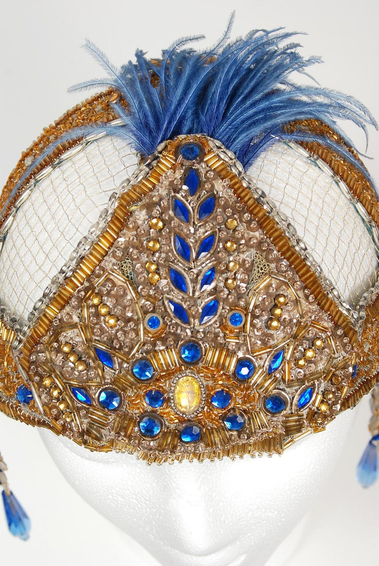 Women's or Men's 1920's French Couture Gold Beaded Blue Jeweled Deco Flapper Crown Headpiece  For Sale