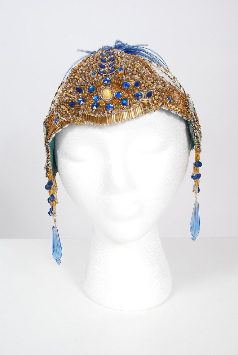 Vintage 1920's French Couture Gold Beaded Blue Jeweled Flapper Crown Headpiece  For Sale 1