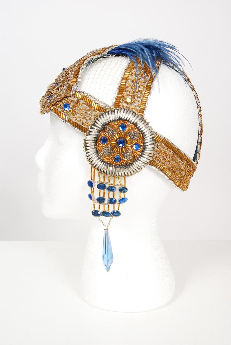 1920's French Couture Gold Beaded Blue Jeweled Deco Flapper Crown Headpiece  For Sale 2