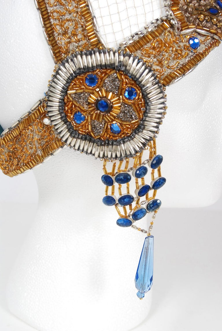 Vintage 1920's French Couture Gold Beaded Blue Jeweled Flapper Crown Headpiece  For Sale 3