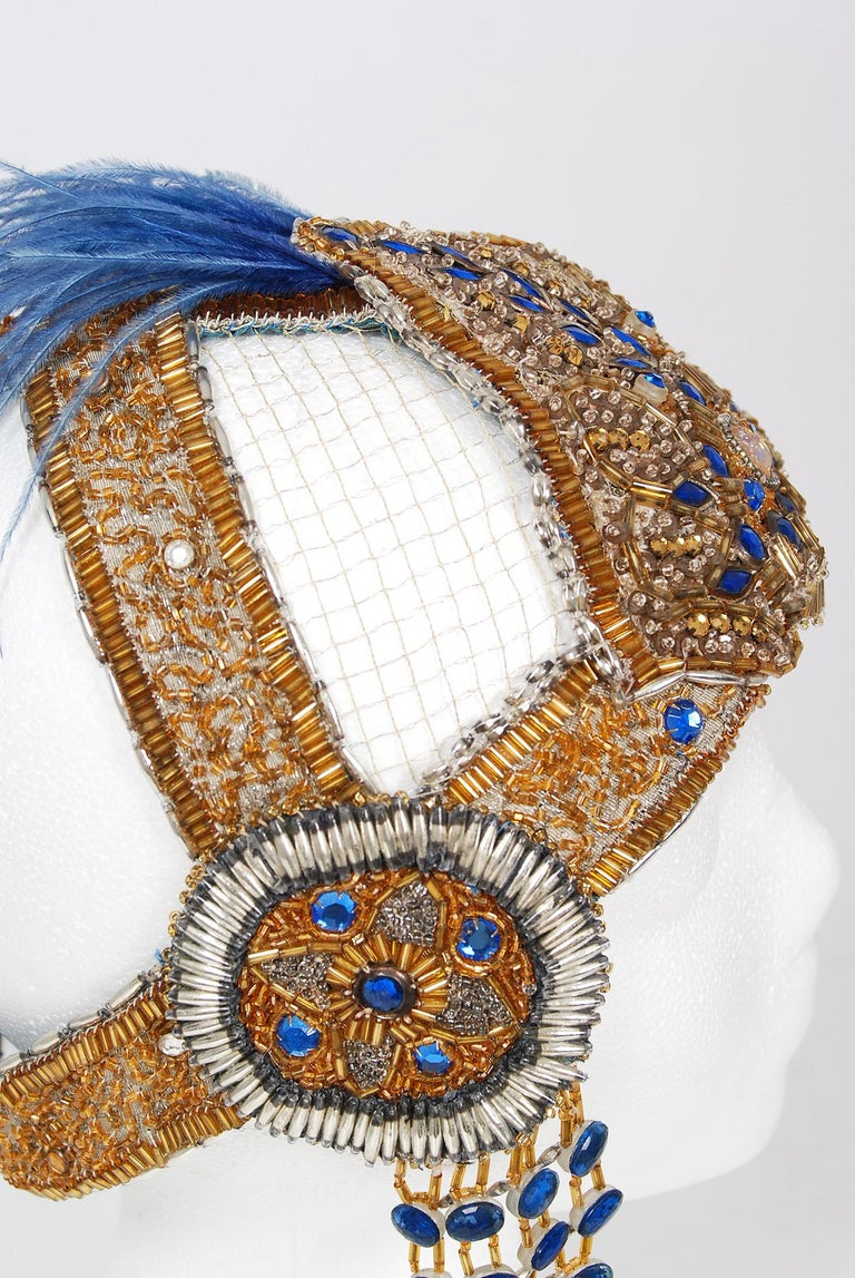 1920's French Couture Gold Beaded Blue Jeweled Deco Flapper Crown Headpiece  For Sale 4