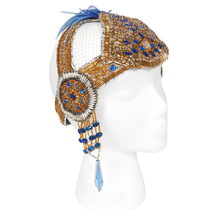 1920's French Couture Gold Beaded Blue Jeweled Deco Flapper Crown Headpiece  For Sale