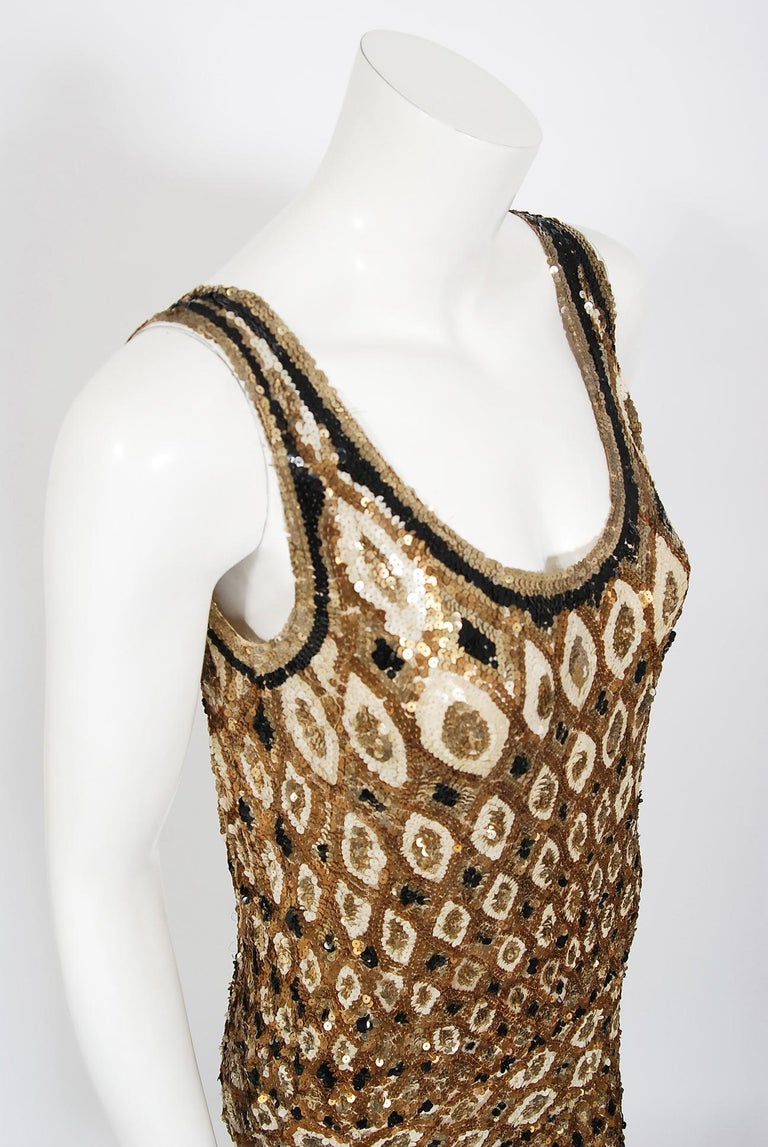 Beige 1920's French Couture Gold & Black Art-Deco Sequin Scalloped Flapper Dress  For Sale