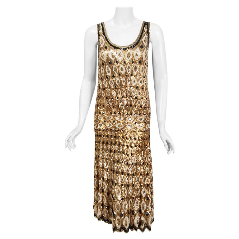 1920's French Couture Gold & Black Art-Deco Sequin Scalloped Flapper Dress  For Sale