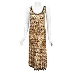 1920's French Couture Gold & Black Art-Deco Sequin Scalloped Flapper Dress