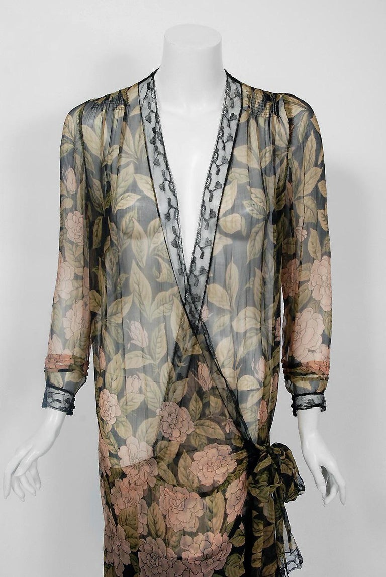 1920 S French Couture Pink Camellias Floral Chiffon Wrap