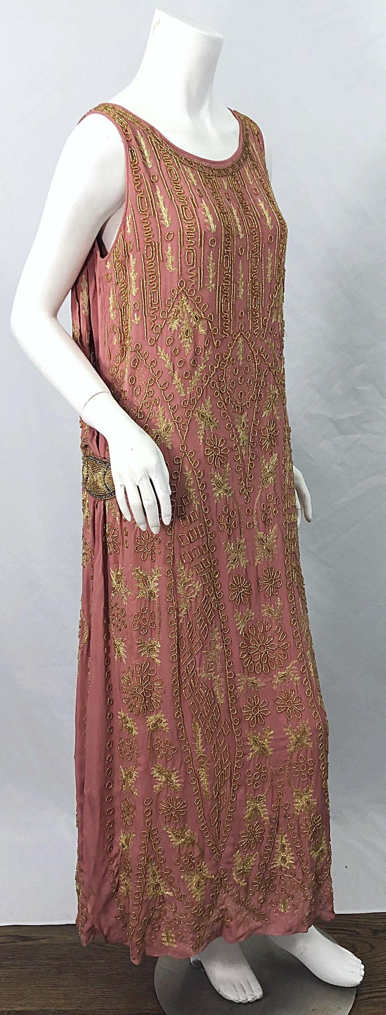 Brown 1920s French Couture Pink + Gold Beaded Gatsby Roaring 20s Vintage Flapper Dress For Sale