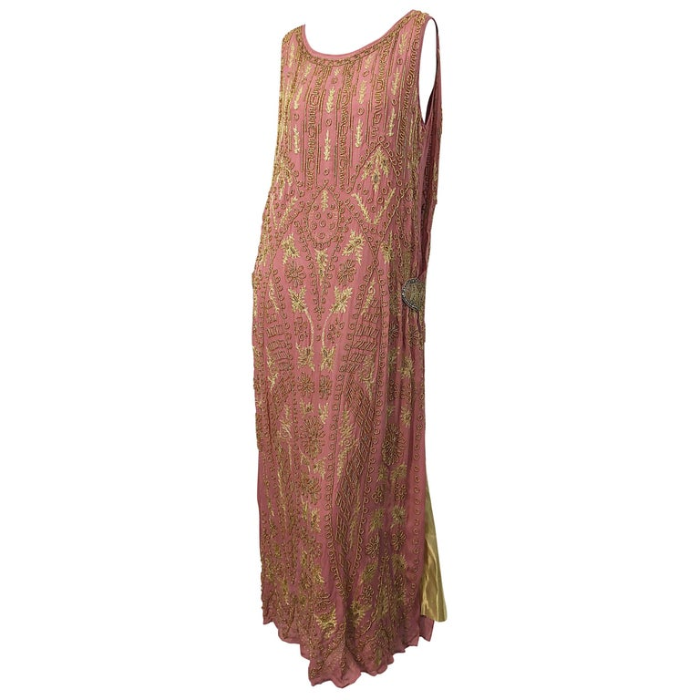 1920s French Couture Pink + Gold Beaded Gatsby Roaring 20s Vintage Flapper Dress For Sale