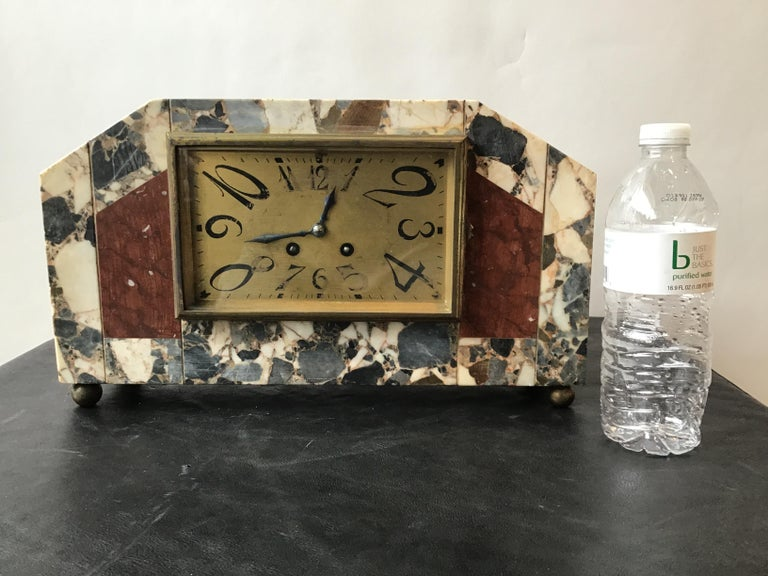 1920s French Deco marble mantle clock. I did not try to start this clock. I'm selling it as broken. It does not work.
