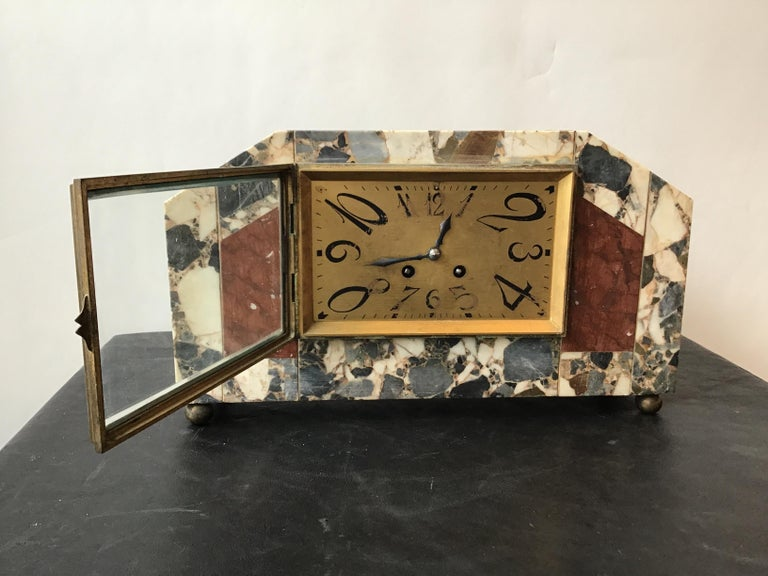1920s French Deco Marble Mantle Clock For Sale 3