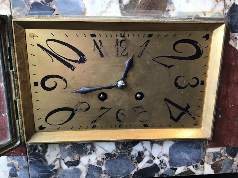 1920s French Deco Marble Mantle Clock For Sale 4