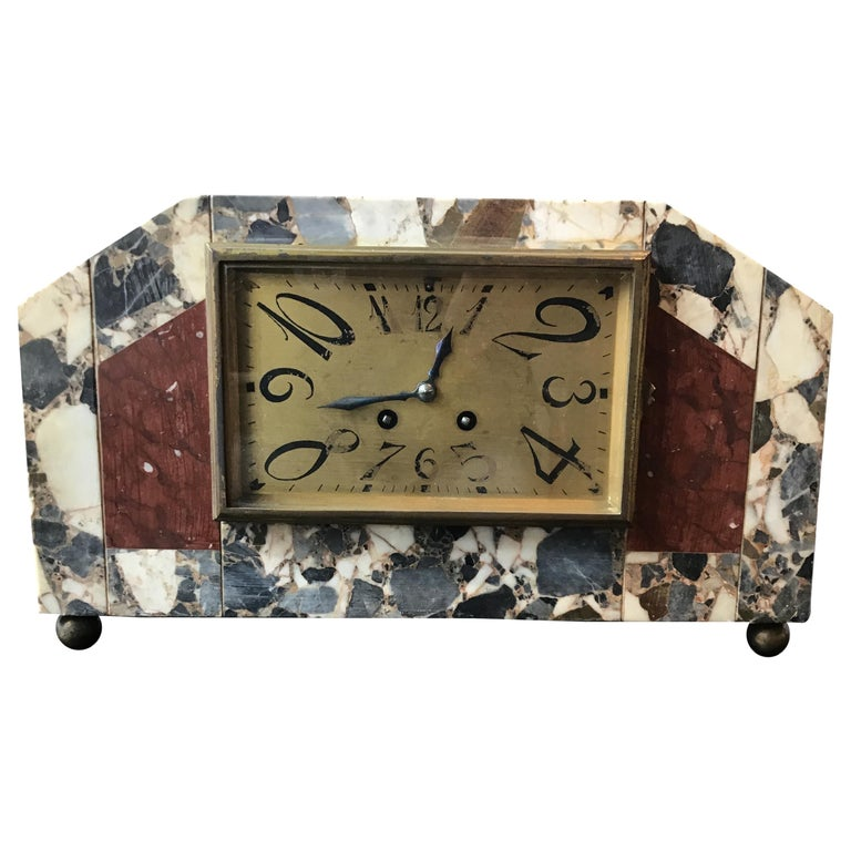 1920s French Deco Marble Mantle Clock For Sale