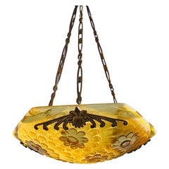 1920s French Degue Glass and Brass Chandelier