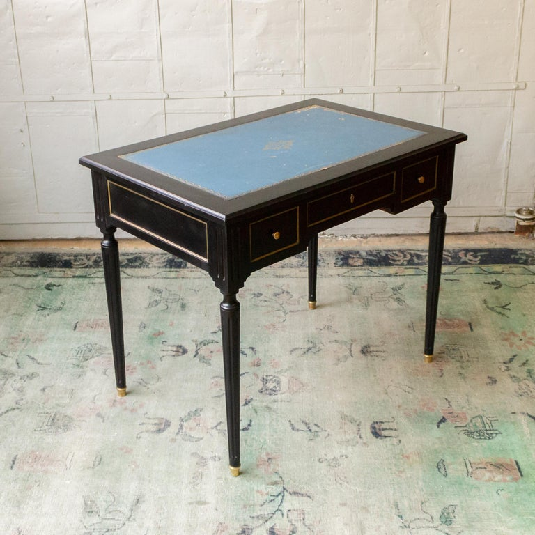 1920s French Ebonized Mahogany Writing Desk For Sale 8