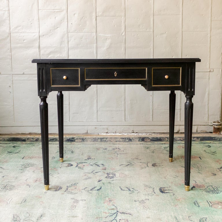 1920s French Ebonized Mahogany Writing Desk For Sale 9