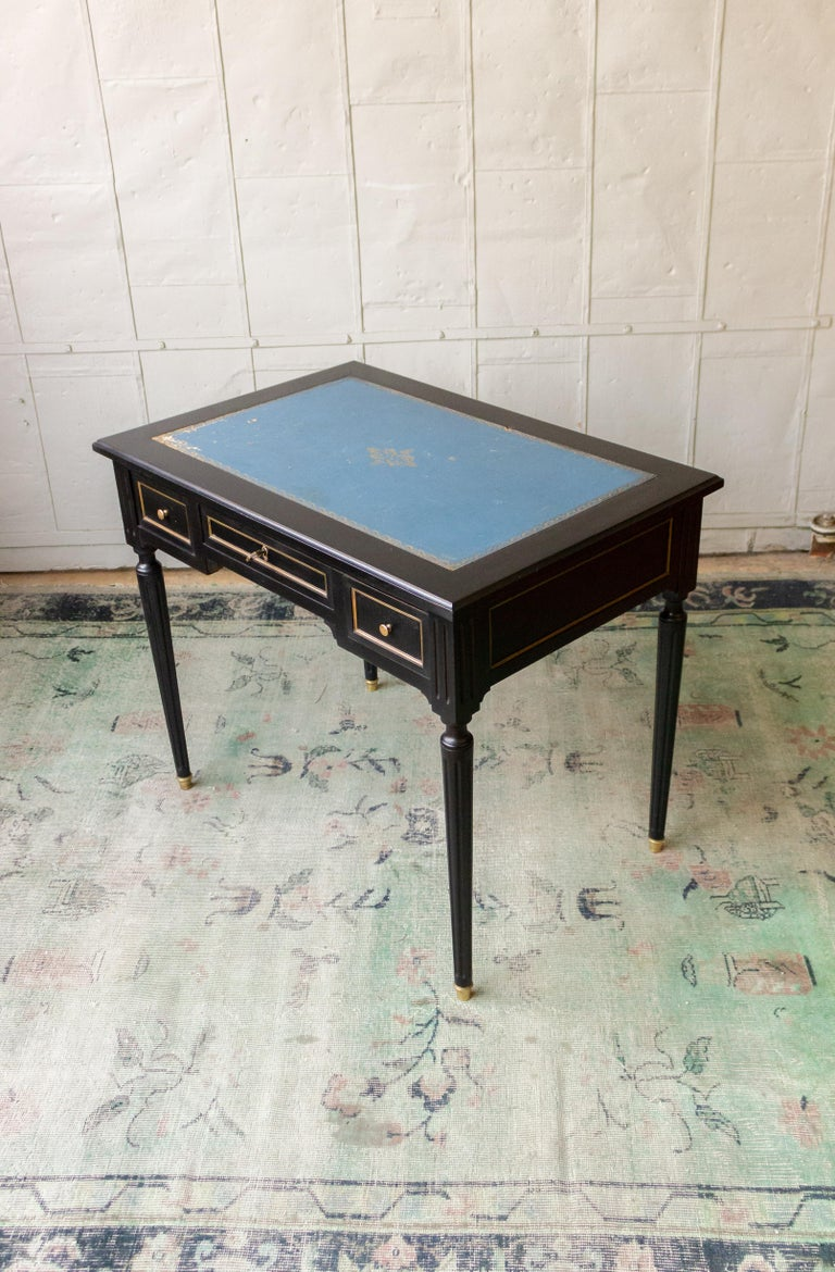 1920s French Ebonized Mahogany Writing Desk For Sale 4