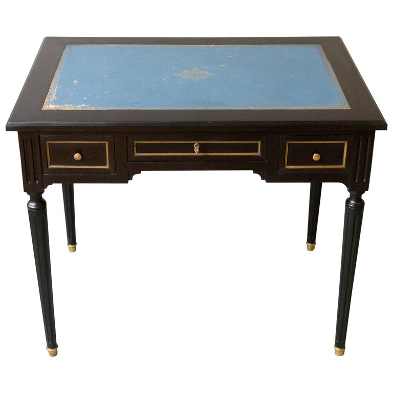 1920s French Ebonized Mahogany Writing Desk For Sale