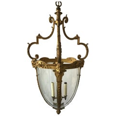 1920s French Gilt Bronze Rams Head Lantern