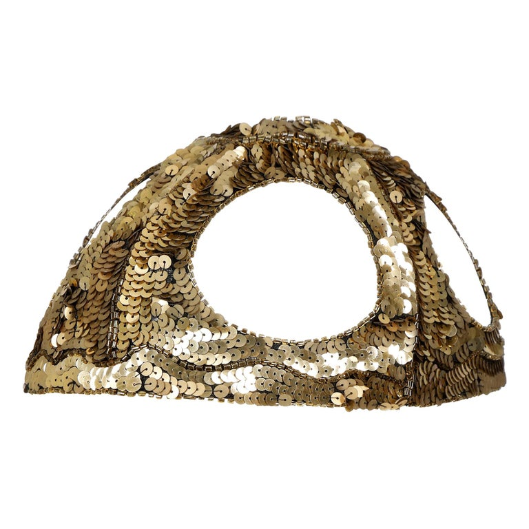 1920s French Gold Sequined Skull Cap For Sale
