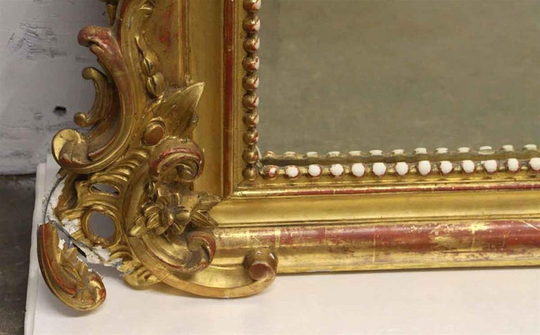 1920s French Hand Carved and Gesso Gilded Over Mantel Mirror with Floral Details For Sale 2