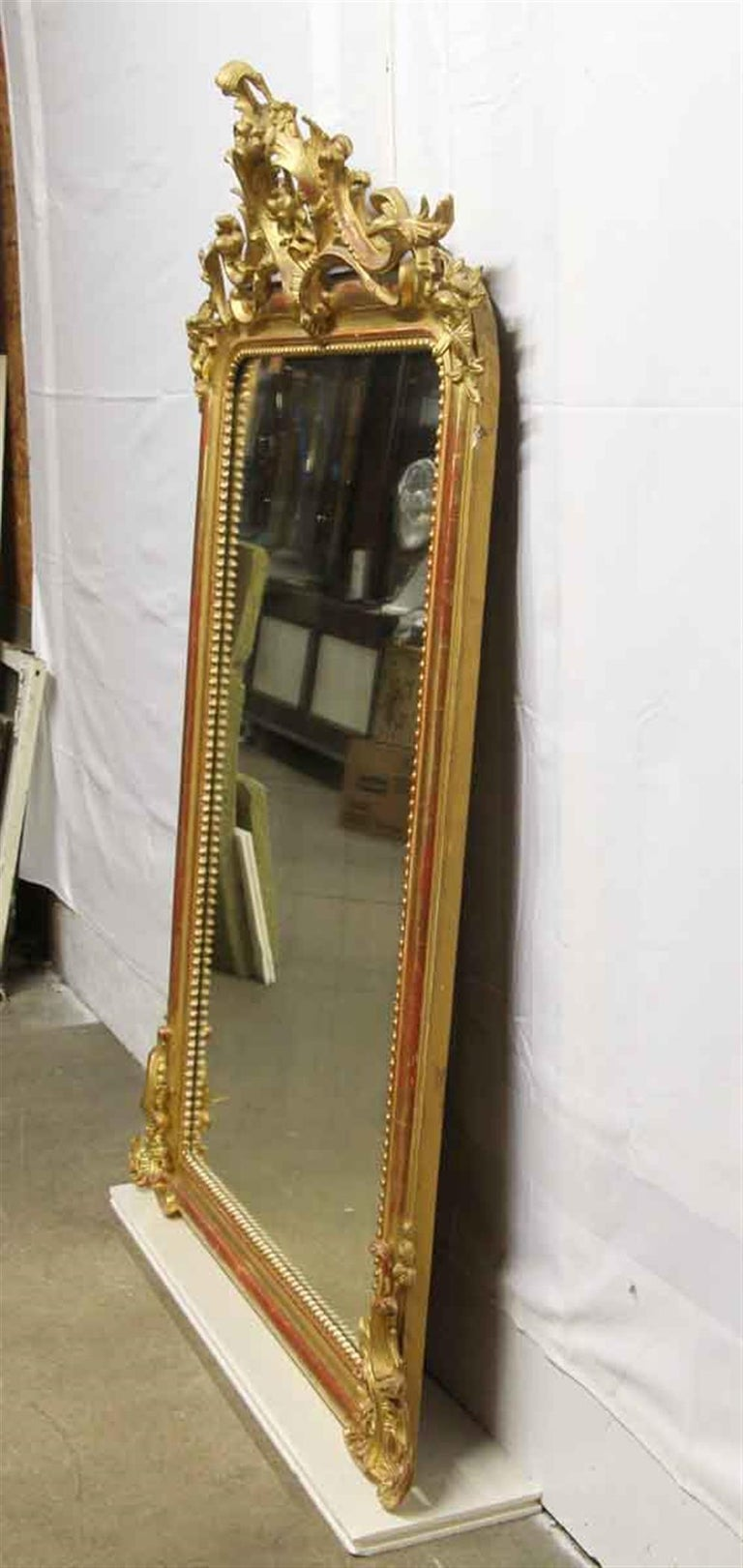 1920s French Hand Carved and Gesso Gilded Over Mantel Mirror with Floral Details For Sale 4