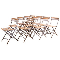 1920s French Iron and Wood Painted Folding Bistrot Chairs, Set of Ten